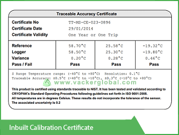 Inbuilt Calibration Certificate Vacker Kuwait